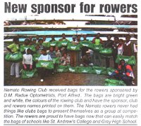 "Kowie Bugle: ""New sponsor for rowers"""