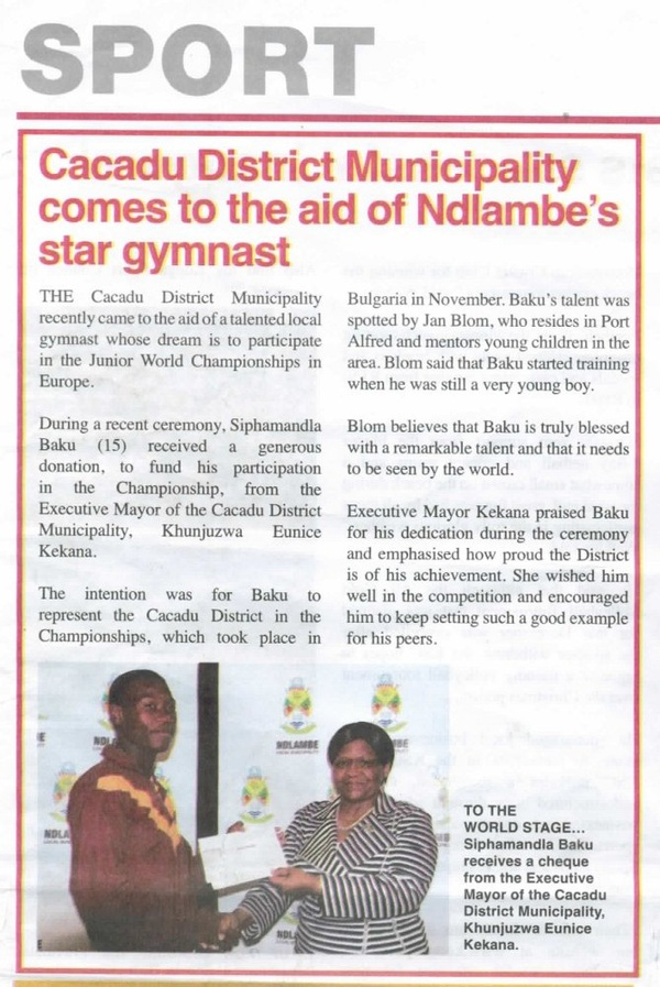 "Cacadu News ""Cacadu District Munucipality comes to the aid of Ndlambe's star gymnast"""