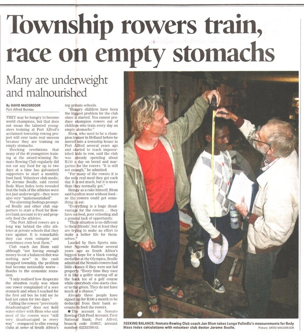 "Daily Dispatch: ""Township rowers train race on empty stomachs"""