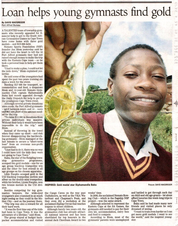 "Daily Dispatch: ""Loan helps young gymnasts find gold"""