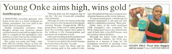 "Herald ""Young Onke aims high, wins gold"""