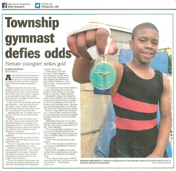 "Daily Dispatch ""Township gymnast defies odds"""