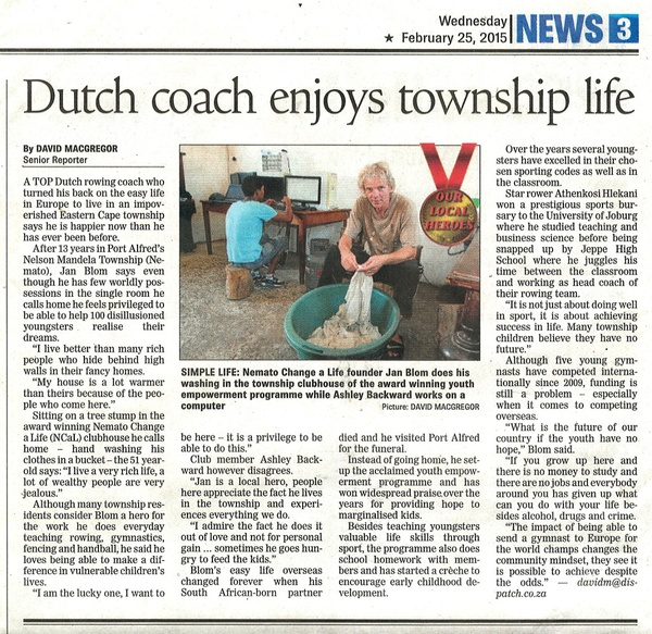 "Daily Dispatch: ""Dutch coach enjoys township life"""