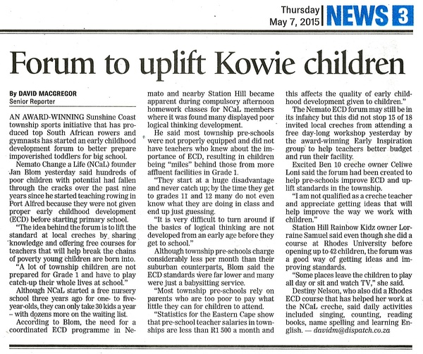 "Daily Dispatch: ""Forum to uplift Kowie children"""