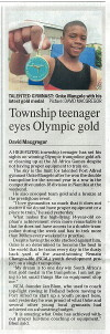 "The Herald: ""Township teenager eyes Olympic gold"""