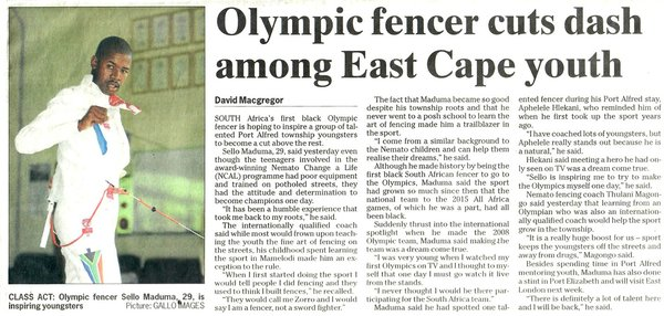 "The Herald: ""Olympic fencer cuts dash among East Cape youth"""