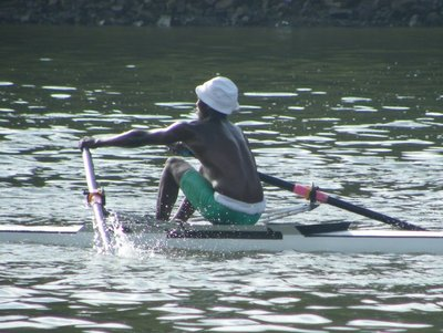 Lunga Vulindlu winning Boys Under 23 A Scull