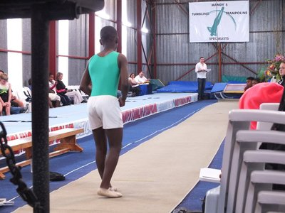 Liyema ready for winning jump on double mini trampoline
