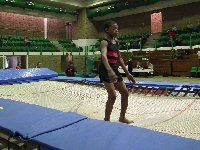 Bongani Qozi on the trampoline