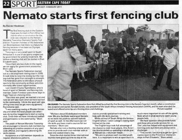 "Eastern Cape Today: ""Nemato starts first fencing club"""