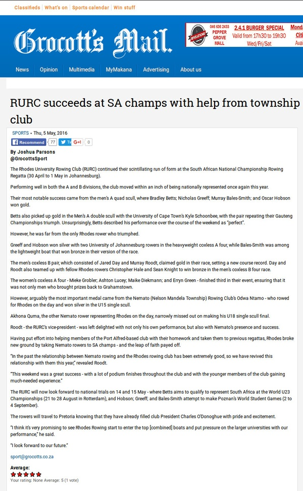 "Grogott's Mail: ""RURC succeeds at SA Champs with help from township club"""