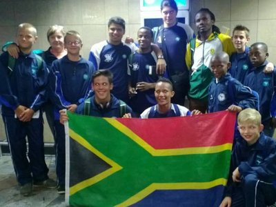 Liyema with SA Gymnastics Team in Namibia