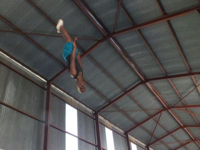 Liyema on trampoline at Mandy's Classic