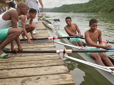 competing at a regatta