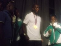 On stage with Olympic Gold