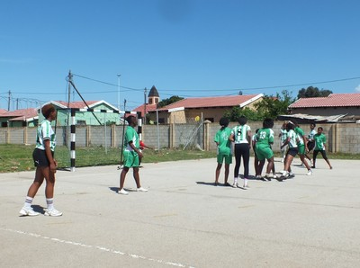 Nemato girls team playing in PE