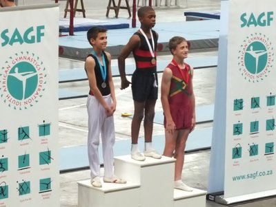 our National Champion double-mini trampoline age 13-14: Onke
