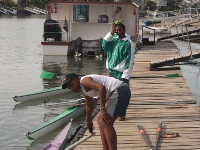 Thembani preparing for the race