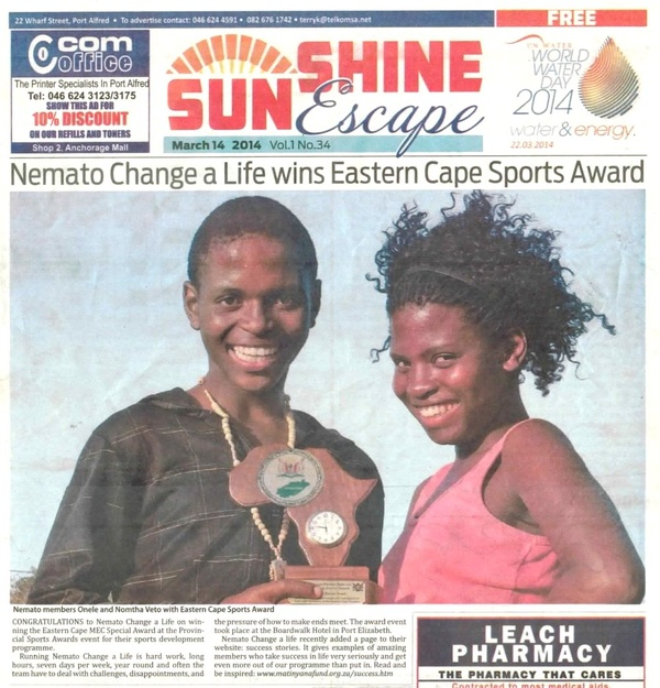 "Sunshine Escape ""Nemato Change a Life wins Eastern Cape Sports Award"""