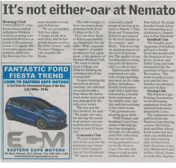 "Talk of the Town: ""It's not either-oar at Nemato"""