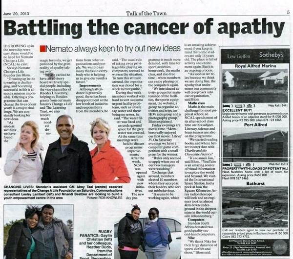 "Talk of the Town: ""Battling the cancer of apathy"""