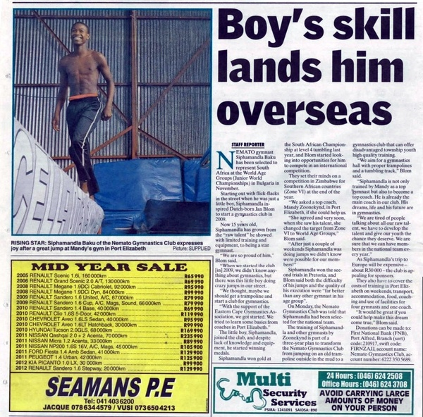 "Talk of the Town: ""Boy's skill lands him overseas"""