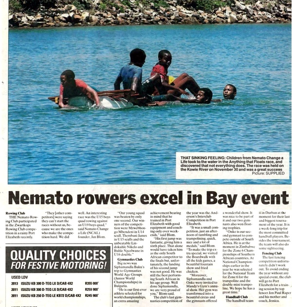 "Talk of the Town ""Nemato rowers excel in Bay event"""