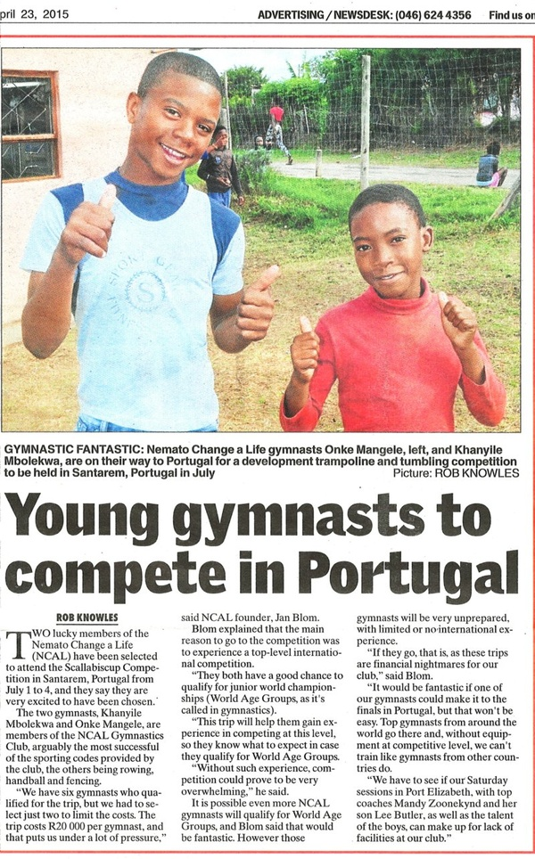 "Talk of the Town: ""Young gymnasts to compete in Portugal"""