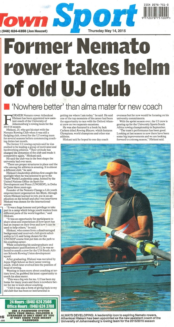 "Talk of the Town: ""Former Nemato rower takes helm of old UJ club"""