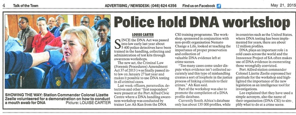 "Talk of the Town: ""Police hold DNA workshop"""