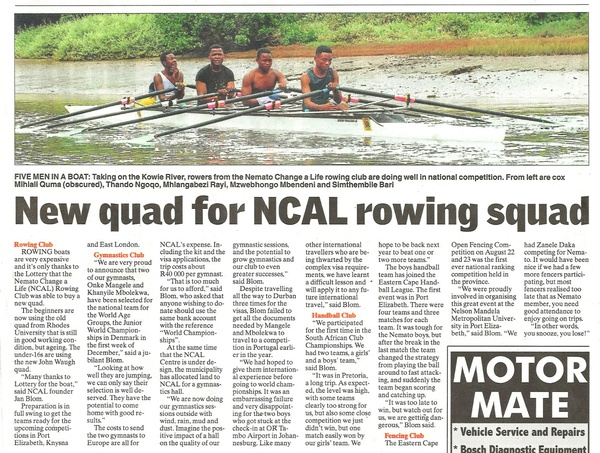 "Talk of the Town: ""New quad for NCAL rowing squad"""