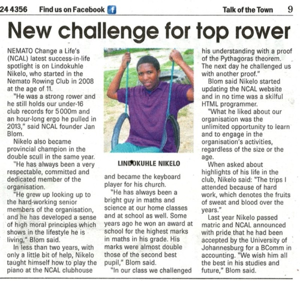 "Talk of the Town: ""New challenge for top rower"""