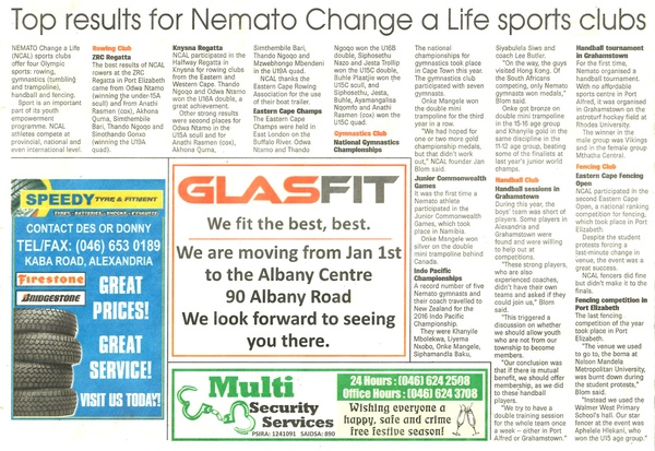 "Talk of the Town: ""Top results from Nemato Change a Life sports clubs"""
