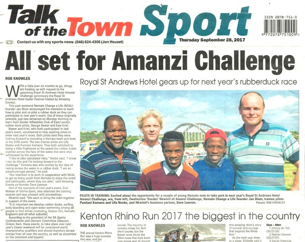 "Talk of the Town: ""All set for Amanzi Challenge"""