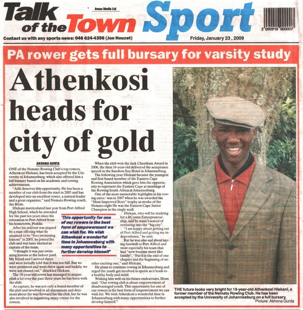 "Talk of the Town: ""Athenkosi heads for city of gold"""