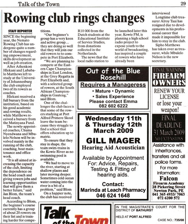 "Talk of the Town: ""Rowing club rings changes"""
