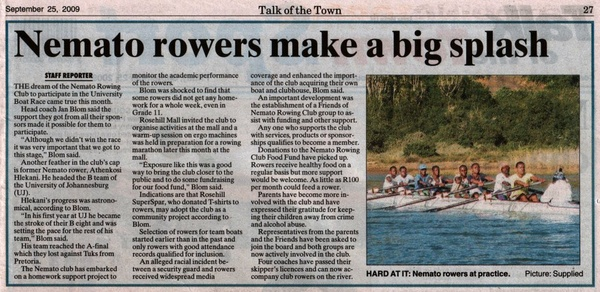 "Talk of the Town: ""Nemato rowers make a big splash"""