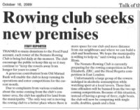 "Talk of the Town: ""Rowing Club seeks new premises"""
