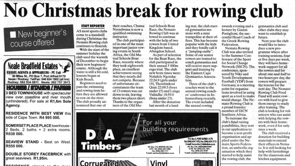 "Talk of the Town: ""No Christmas break for rowing club"""