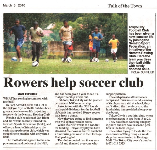 "Talk of the Town: ""Rowers help soccer club"""