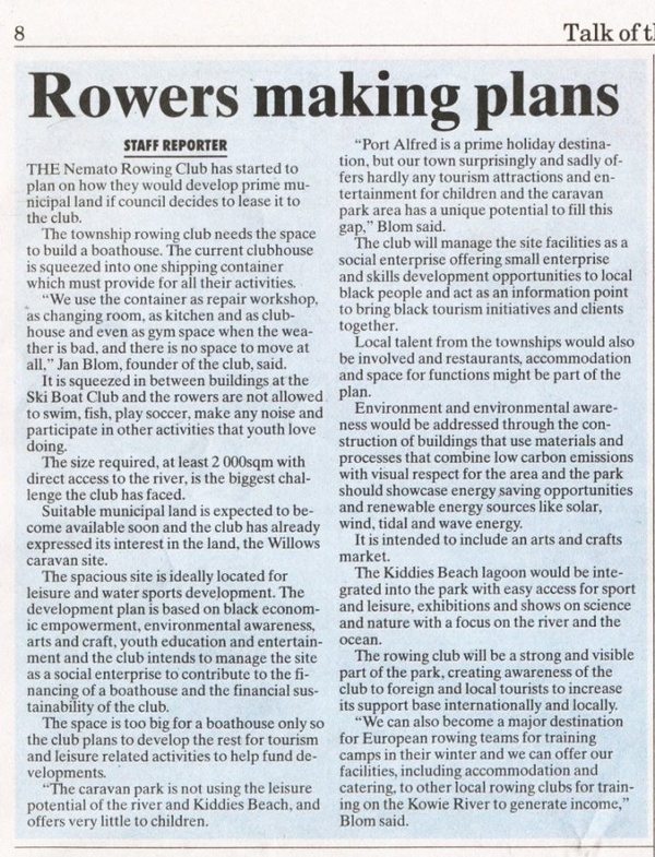 "Talk of the Town: ""Rowers making plans"""