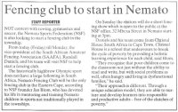 "Talk of the Town: ""Fencing club to start in Nemato"""