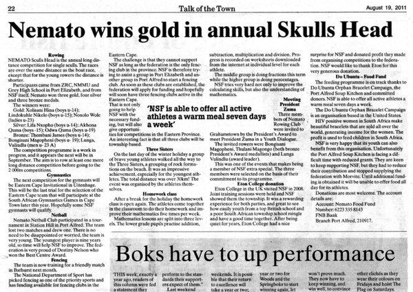 "Talk of the Town: ""Nemato wins gold in annual Sculls Head"""
