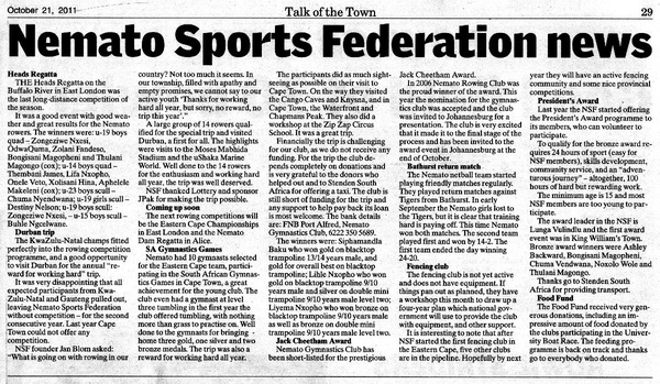 "Talk of the Town: ""Nemato Sports Federation news"""