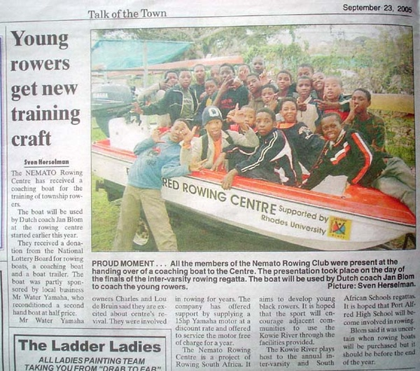 Talk of the Town: Young rowers get new training craft