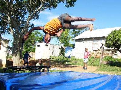 Siphamandla's first trampoline jumps