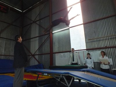 Siphamandla on double mini trampoline at Eastern Cape Trials